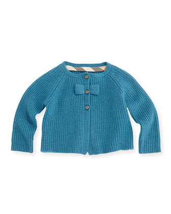 Ribbed Cardigan with Bow, Bright Turquoise, 3M-2Y