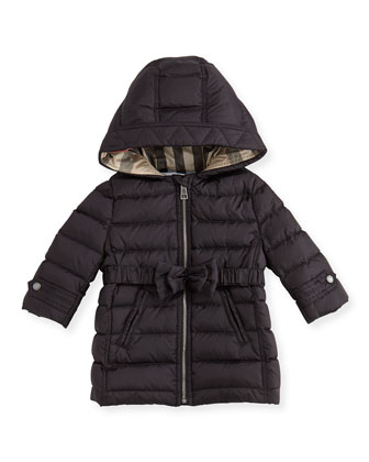 Puffer Jacket with Bow-Belt, Black, 3M-3Y
