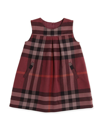 Pleated Check Shift Dress, Deep Claret, 3M-3Y