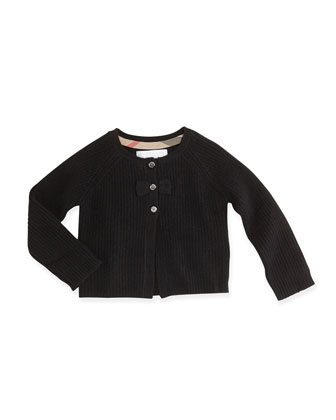 Cashmere Cardigan with Bow, Black, 3M-3Y