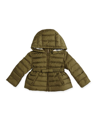 Puffer Jacket with Bow-Belt, Antique Green, 6M-3Y
