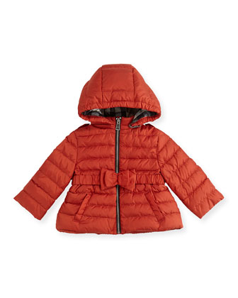 Puffer Jacket with Bow Belt, Bright Russet, 6M-3Y