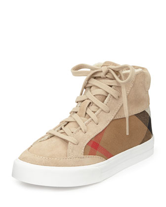 Canvas/Suede High-Top Sneaker, Stone, Youth