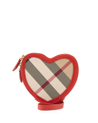 Heart-Shaped Check Crossbody Bag, Military Red
