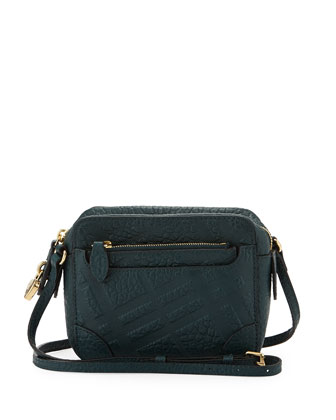 Girls' Check-Embossed Leather Crossbody Bag