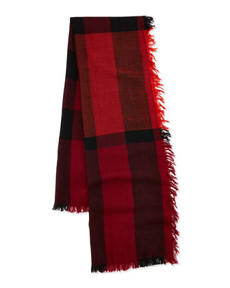 Kids' Check Merino-Wool Scarf, Bright Russet