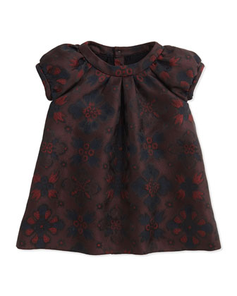 London-Inspired Jacquard Dress, Deep Claret, 2Y-3Y