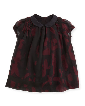 Printed Crinkle-Chiffon Dress, Deep Claret, 3M-3Y