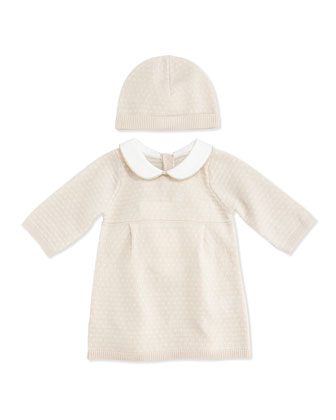 Knitted Dress with Bonnet, Pink Ice, 3-18 Months