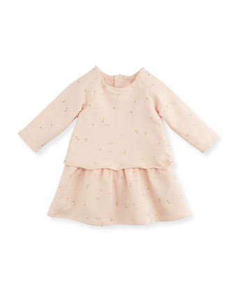 Mini-Bow Printed Fleece Dress, Magnolia, 3-18 Months