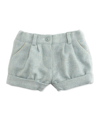 Pleated Tweed Bubble Shorts, Blue