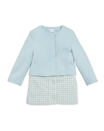Girls' Wool Twill Crochet Two-In-One Coat, Light Blue