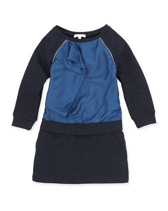 Raglan Ruffle-Front Dress, Dark Ink, Girls' 6-10