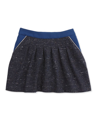 Tweed Skirt W/ Crepe-Trim, Dark Blue, 6A-10A