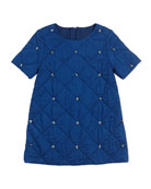 Rhinestone Embellished Quilted Couture Dress, Navy, 6A-10A