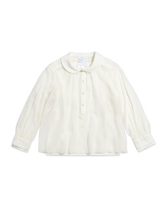 Layered Long-Sleeve Blouse, Off White, Sizes 12-14