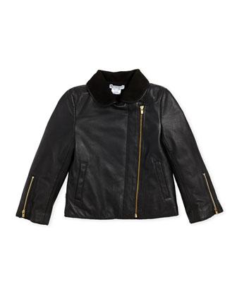 Chiffon Crepe Blouse With Tee, Leather Jacket, Tweed Pleated Shorts & ...