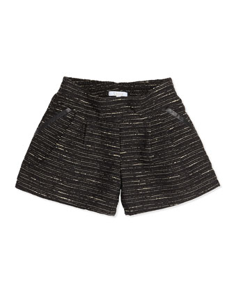 Shimmer Tweed Pleated Shorts, Black, 12A-14A