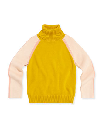 Colorblock Turtleneck Sweater, Mustard, 6A-10A