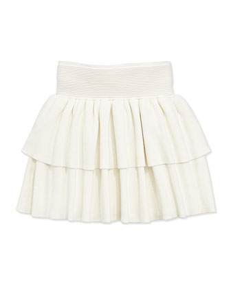 Ruffled Rib-Knit Tiered Skirt, White, Sizes 8-12