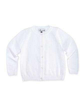Classic Knit Cardigan, White, 2Y-12Y