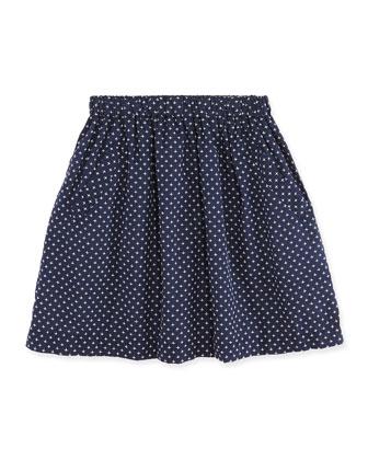 Vivi A-line Stitch-Detail Skirt, Navy/White, 7Y-12Y