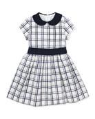 Anna Plaid Cap-Sleeve Dress, White/Navy, 2Y-10Y