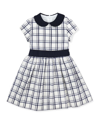 Anna Plaid Cap-Sleeve Dress, White/Navy, 2Y-10Y