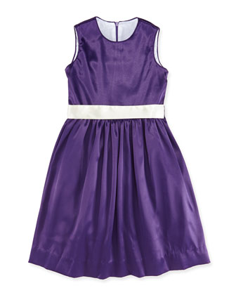 Sally Satin Soiree Dress, Amethyst, 7Y-12Y