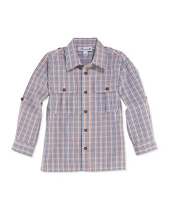 Reece Check Camp Shirt, Navy/Orange, 2Y-12Y