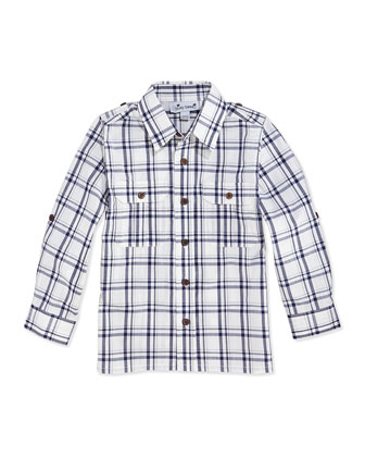 Reece Plaid Camp Shirt, White/Navy, 2Y-12Y