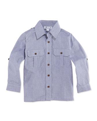Reece Woven Camp Shirt, Navy, 2Y-12Y
