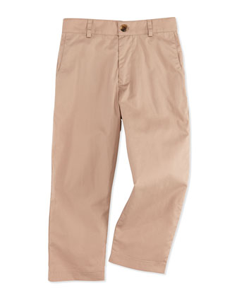 Alex Flat-Front Trousers, Khaki, 2Y-12Y