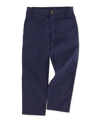 Alex Flat-Front Trousers, Navy, 2Y-12Y