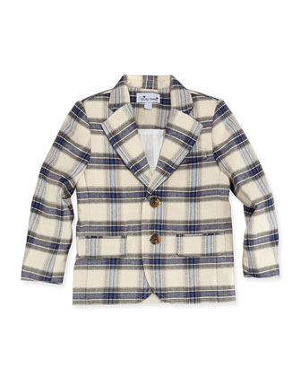 Mac Plaid Blazer, Blue/Cream, Boys' 2Y-12Y