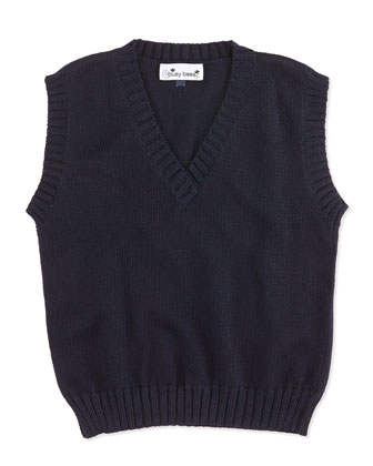 Knit Sweater Vest, Navy, 2Y-12Y