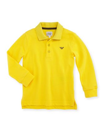 Pique Long-Sleeve Polo, Yellow, 2A-8A