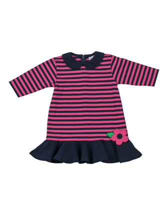 Peter Pan-Collar Striped Dress, Navy/Fuchsia, 12-24 Months