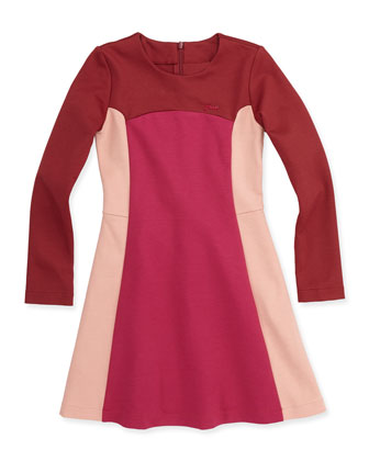 Long-Sleeve Colorblock Ponte Dress, Burgundy/Pink, Sizes 10-12