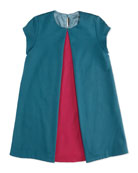 Short-Sleeve Pleated-Front Dress, Teal, Sizes 6-9