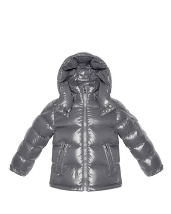 Maya Shiny Nylon Jacket, Silver, Sizes 2-6