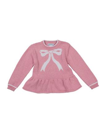 Bow-Intarsia Peplum Sweater, Pink, 2T-4T