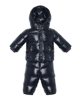 Herve Quilted Nylon Snowsuit, Navy, Sizes 2-6