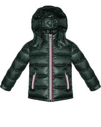 Gaston Hooded Quilted Jacket, Forest Green, Sizes 8-14
