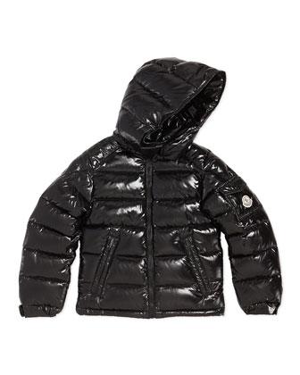 Maya Shiny Nylon Jacket, Black, Sizes 8-14