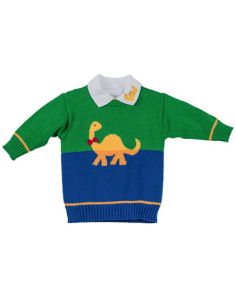 Dinosaur-Intarsia Sweater, Royal Green, 2T-4T