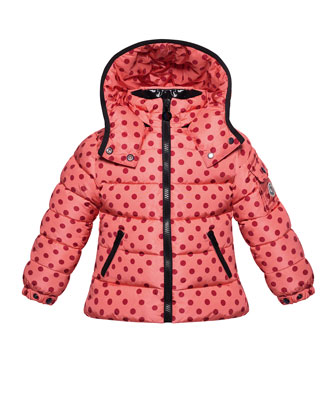 Bady Polka-Dot Puffer Jacket, Pink, Sizes 8-14