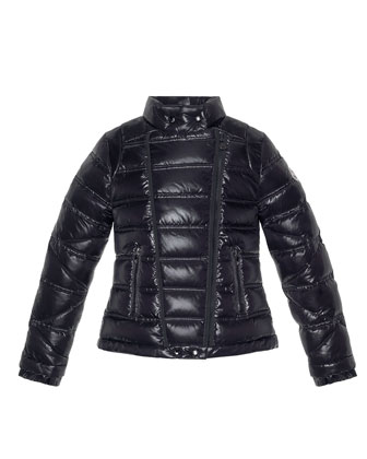Nolwen Quilted Nylon Coat, Black