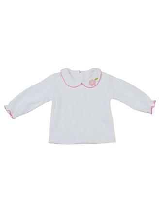 Long-Sleeve Peter-Pan Collar Shirt, White, 2T-3T