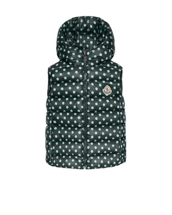 Zelie Polka-Dot Puffer Vest, Green, Size 8-4